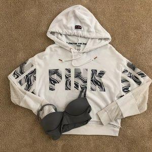 PINK mesh hoodie & long line VS bralette